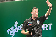 Chris Dobey after his first round victory over Kim Huybrechts during the PDC Darts Players Championship at  at Butlins Minehead, Minehead, United Kingdom on 24 November 2017. Photo by Shane Healey.