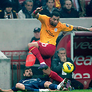 Galatasaray's Colin Kazim Richards (C) during their Turkish Super League soccer match Galatasaray between IBBSpor at the TT Arena at Seyrantepe in Istanbul Turkey on Tuesday, 03 January 2012. Photo by TURKPIX