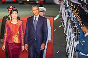 18 NOVEMBER 2012 - BANGKOK, THAILAND:   US President Barack Obama and Yingluck Shinawatra, Prime Minister of Thailand, review Thai troops during a welcoming ceremony for President Obama at Government House in Bangkok. Barack Obama will become the first US President to visit Myanmar during the four-day tour of Southeast Asia that will also include visits to Thailand and Cambodia.  PHOTO BY JACK KURTZ