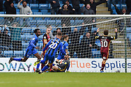 Gillingham FC midfielder Regan Charles-Cook (11) scores a goal (1-0) and celebrates during the EFL Sky Bet League 1 match between Gillingham and Bradford City at the MEMS Priestfield Stadium, Gillingham, England on 27 October 2018.