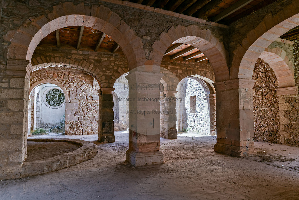 Stables under the fading Hacienda de Jaral de Berrio in Jaral de Berrios, Guanajuato, Mexico. The abandoned Jaral de Berrio hacienda was once the largest in Mexico and housed over 6,000 people on the property and is credited with creating Mescal.
