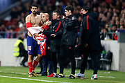 Atletico Madrid's Spanish forward Diego Costa reacts after his jersey was torn apart during the Spanish Cup, Copa del Rey quarter final, 1st leg football match between Atletico Madrid and Sevilla FC on January 17, 2018 at Wanda Metropolitano stadium in Madrid, Spain - Photo Benjamin Cremel / ProSportsImages / DPPI