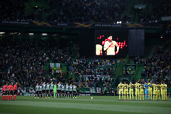February 14, 2019 - Lisbon, Portugal - A minute's silence is observed in memory of late Argentine forward Emiliano Sala before the UEFA Europa League Round of 32 First Leg football match Sporting CP vs Villarreal CF at Alvalade stadium in Lisbon, Portugal on February 14, 2019. (Credit Image: © Pedro Fiuza/NurPhoto via ZUMA Press)