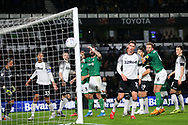 Sheffield Wednesday forward Steven Fletcher (9) sees a shot go wide during the EFL Sky Bet Championship match between Derby County and Sheffield Wednesday at the Pride Park, Derby, England on 11 December 2019.