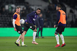 Derby County's Richard Keogh, Tom Huddlestone and Bradley Johnson in the warm up before the Sky Bet Championship match at Pride Park, Derby.