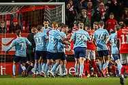 Charlton Athletic and Accrington Stanley players scuffle in the box during the EFL Sky Bet League 1 match between Charlton Athletic and Accrington Stanley at The Valley, London, England on 19 January 2019.