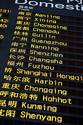 Departure board showing Chinese cities at Beijing International Airport