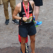 London, England, UK. 28 April 2019. Amelie Mauresmo finish the Virgin Money London Marathon at Pall Mall.