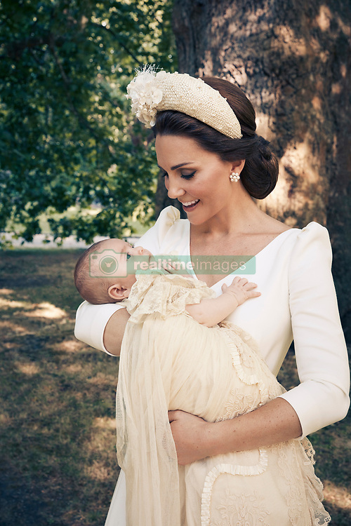 For first publication 22.30 hours BST on Sunday July 15th 2018:<br /> OFFICIAL PORTRAIT OF THE CHRISTENING OF PRINCE LOUIS.  OBLIGATORY CREDIT LINE: PHOTO MATT HOLYOAK/CAMERA PRESS.     <br /> The Duchess of Cambridge and the newly christened Prince Louis in the grounds of Clarence House.<br /> THIS PHOTOGRAPH IS PROVIDED FOR FREE NEWS USAGE IN CONNECTION WITH PRINCE LOUIS'S CHRISTENING UNTIL JULY 29TH 2018 . AFTER WHICH IT MUST BE REMOVED FROM ALL YOUR SYSTEMS. USAGE RIGHTS ARE STRICTLY EDITORIAL NEWS ONLY, NO COMMERCIAL, SOUVENIR OR PROMOTIONAL USE PERMITTED. MAGAZINE COVER USAGES REQUIRE APPROVAL. THE PHOTOGRAPH CANNOT BE CROPPED, MANIPULATED OR ALTERED IN ANY WAY.