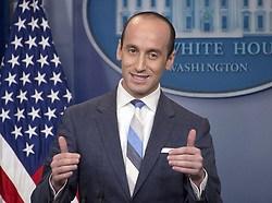 August 2, 2017 - Washington, District of Columbia, United States of America - White House senior advisor for policy Stephen Miller conducts a press briefing on the Trump Administration's support of the Reforming American Immigration for a Strong Economy (RAISE) Act in the Brady Press Briefing Room of the White House in Washington, DC on Wednesday, August 2, 2017. .Credit: Ron Sachs / CNP (Credit Image: © Ron Sachs/CNP via ZUMA Wire)