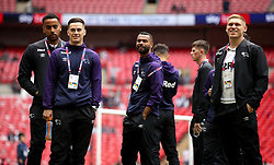 Derby County's Tom Huddlestone (left), Tom Lawrence, Ashley Cole, and Martyn Waghorn inspect the pitch before the match