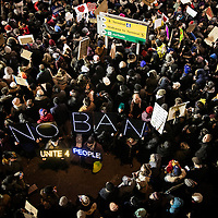 People march against Trump's executive order banning citizens of 7 Muslim majority nations and refugees from entering the United States at JFK International Airport in New York City, NY on Saturday, January 28, 2017.