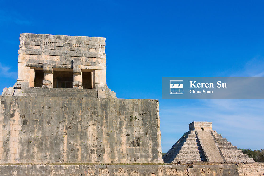 The Great Ball Court with Temple of Kukulkan (often called El Castillo), Chichen Itza, Yucatan, Mexico