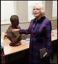 Image ©Licensed to i-Images Picture Agency. 20/10/2016. London, United Kingdom. Duchess of Cornwall visits Swindon Railway. <br /> <br /> Camilla, Duchess of Cornwall is shown a bust of  Sir Daniel Gooch as she visits Swindon Railway Station to name Sir Daniel Gooch Place on October 20, 2016 in Swindon, England.<br /> <br /> <br /> Picture by  i-Images / Pool