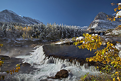 Autumn, Swiftcurrent Falls, Mt. Grinnell in Glacier National Park