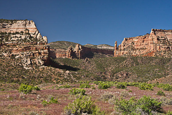 Entrance into Monument Canyon as viewed from HWY 340.  Colorado National Monument.  Colorado, USA.