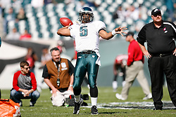 Philadelphia Eagles quarterback Donovan McNabb #5 warms up before the NFL game between the Tampa Bay Buccaneers and the Philadelphia Eagles on October 11th 2009. The Eagles won 33-14 at Lincoln Financial Field in Philadelphia, Pennsylvania. (Photo By Brian Garfinkel)