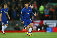 Eden Hazard of Chelsea makes a break. Premier League match, Liverpool v Chelsea at the Anfield stadium in Liverpool, Merseyside on Saturday 25th November 2017.<br /> pic by Chris Stading, Andrew Orchard sports photography.