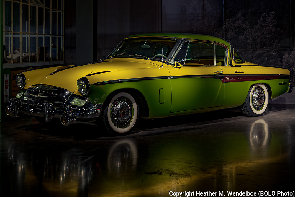 BOLO Photo<br /> Wild West Automotive Photography<br /> Vehicle Vault (2019)<br /> Lemon-Lime Light in the Vault<br /> May 3, 2019: Parker, Colorado<br /> (1955 Studebaker President Speedster: Vehicle Vault)