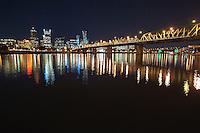 Portland Skyline, Big Dipper, and Hawthorne Bridge at Night<br /> <br /> Shot in Portland, OR, USA