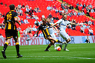 Keith Graydon of Morpeth Town AFC and Aaron Birch of Hereford FC during the FA Vase match between Hereford FC and Morpeth Town at Wembley Stadium, London, England on 22 May 2016. Photo by Mike Sheridan.