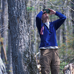Kibby Township, ME. A field researcher for Manomet Observatory measuring canopy height on a tract of Maine timberland.  Late successional northern hardwood forest.