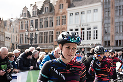 Tiffany Cromwell (AUS) of CANYON//SRAM Racing walks to the sign-on before the AG Driedaagse Brugge-De Panne - a 134.4 km road race, between Brugge and De Panne on April 21, 2018, in West Flanders, Belgium. (Photo by Balint Hamvas/Velofocus.com)