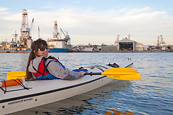 North America, United States, Washington, Seattle, Kayaking near Port of Seattle  MR