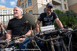 Steve Gonzales of California (L) on his 1915 Harley-Davidson beside Jon Szalay of New Jersey on his 1913 Thor on the Atlantic City boardwalk at the start of the Motorcycle Cannonball Race of the Century. Stage-1 from Atlantic City, NJ to York, PA. USA. Saturday September 10, 2016. Photography ©2016 Michael Lichter.