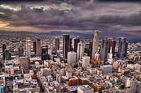Downtown Los Angeles, Thunderstorm (Aerial)