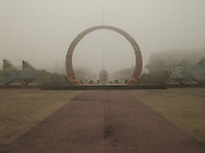 Monument place by a foggy day in Vinh, Viet Nam, Asia.