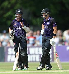 Michael Klinger of Gloucestershire and Benny Howell of Gloucestershire - Photo mandatory by-line: Dougie Allward/JMP - Mobile: 07966 386802 - 12/07/2015 - SPORT - Cricket - Cheltenham - Cheltenham College - Natwest Blast T20