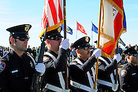Officers of the Salinas Police Department Color Guard participate in a ceremony on Sunday at the Monterey County Vietnam Veterans Memorial in Salinas.