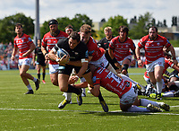 Rugby Union - 2018 / 2019 Gallagher Premiership - Play-Off Semi-Final: Saracens vs. Gloucester<br /> <br /> Saracens' Alex Goode is tackled by Gloucester's Tom Savage (top) and Willi Heinz, at Allianz Park.<br /> <br /> COLORSPORT/ASHLEY WESTERN