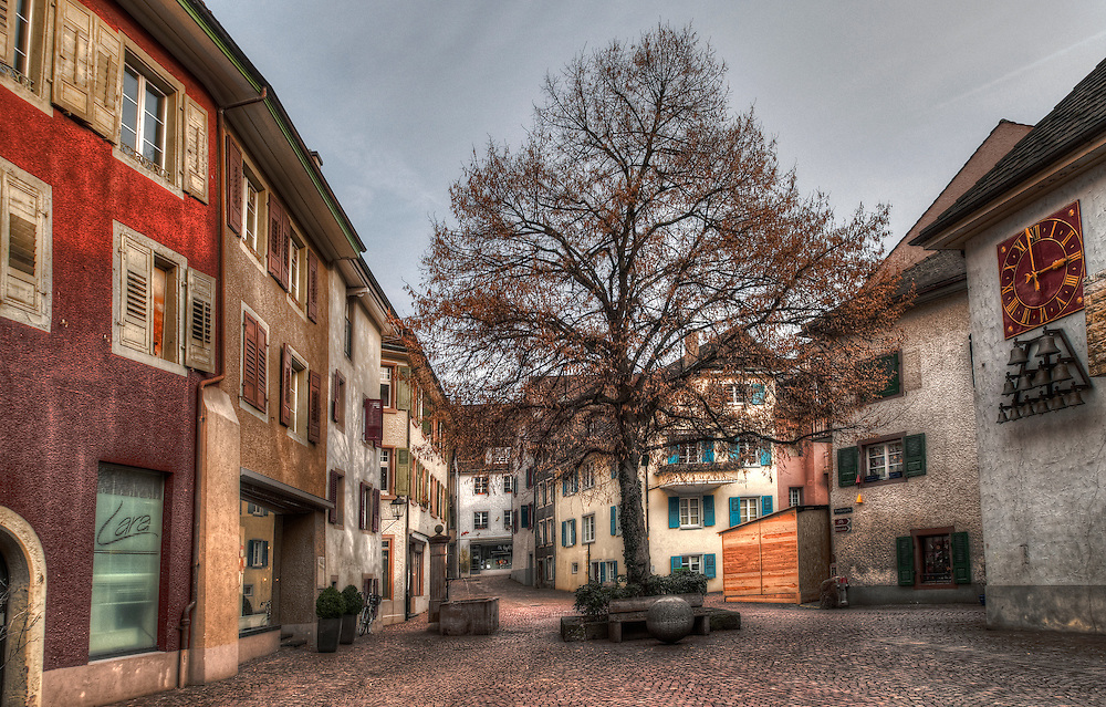 Clock and bells Rheinfelden square