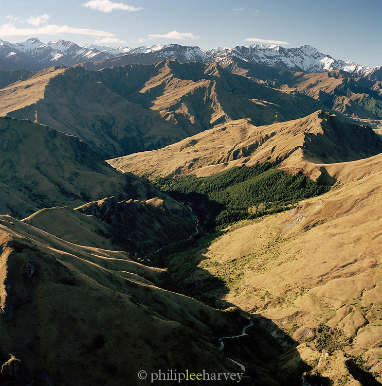 View towards Southern Alps from a helicopter, Queenstown, Southern Alps, South Island, New Zealand.