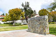 Whittier College Sign at the Lower Quad on Campus