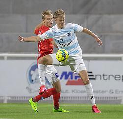 Andreas Smed (FC Helsingør) og Mads Kaalund (Silkeborg IF) under kampen i 1. Division mellem FC Helsingør og Silkeborg IF den 11. september 2020 på Helsingør Stadion (Foto: Claus Birch).