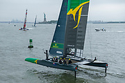SailGP Team Australia  during practice. Event 3 Season 1 SailGP event in New York City, New York, United States. 19 June 2019. Photo: Chris Cameron for SailGP. Handout image supplied by SailGP