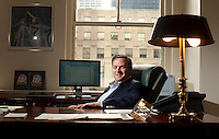 Mark Lazarus, chairman of the NBC Sports Group in his offices at 30 Rockefeller Center in New York. ..Photo by Robert Caplin.