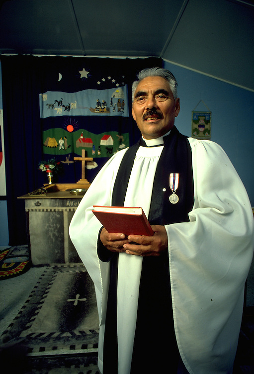 Images from assignment work in Igloolik, Eastern Canadian Artic, in 1985-1986.  Igloolik is an Inuit community with traditional hunting and fishing and a strong sense of self government. Noah Nassok-the only Anglican Bishop in 1986, in Igloolik.