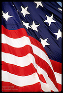 Detail of 30'x42' garrison flag shows part of 15 stars & stripes officially used in 1814;Baltimre Maryland