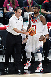 11.09.2014, City Arena, Barcelona, ESP, FIBA WM, USA vs Litauen, Halbfinale, im Bild USA's coach Mike Krzyzewski with his player Kyrie Irving // during FIBA Basketball World Cup Spain 2014 semi-final match between United States and Lithuania at the City Arena in Barcelona, Spain on 2014/09/11. EXPA Pictures © 2014, PhotoCredit: EXPA/ Alterphotos/ Acero<br /> <br /> *****ATTENTION - OUT of ESP, SUI*****