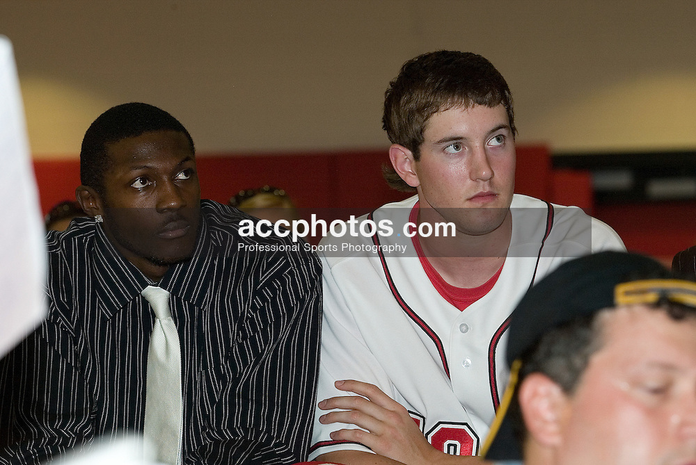 06 May 2006: Andrew Brackman (right) as Sidney Lowe is announced as the 18th head coach at North Carolina State at the Dail Basketball Center in Raleigh, NC.