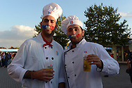 two France supporters in chef's outfits outside Twickenham before k/o. Rugby World Cup 2015 pool D match, France v Italy at Twickenham Stadium in London on Saturday 19th September 2015.<br /> pic by John Patrick Fletcher, Andrew Orchard sports photography.