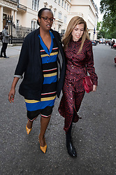 © Licensed to London News Pictures. 12/06/2019. London, UK. Carrie Symonds (R) leaves Boris Johnson's Conservative party leadership campaign launch in central London with activist Nimco Ali. Later a number of candidates will attend a hustings event in Parliament.  Photo credit: Peter Macdiarmid/LNP