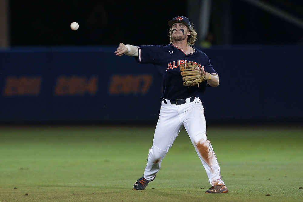 Luke Jarvis (9)<br /> Auburn Tigers vs. Florida Gators in Game 3 of the Super Regional at Alfred A. McKethan Stadium in Gainesville, Fla. on Monday, June 11, 2018.<br /> Zach Bland/Auburn Athletics