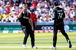 James Neesham of New Zealand celebrates with teammates after taking the wicket of Glenn Maxwell of Australia - Mandatory by-line: Robbie Stephenson/JMP - 29/06/2019 - CRICKET - Lords - London, England - New Zealand v Australia - ICC Cricket World Cup 2019 - Group Stage