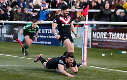London Broncos' Elliot Kear goes over to score the final try of the match during the Betfred Super League match at Trailfinders Sports Club, London.