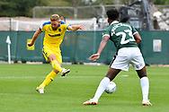 Scott Wagstaff (7) of AFC Wimbledon shoots at goal during the EFL Sky Bet League 1 match between Plymouth Argyle and AFC Wimbledon at Home Park, Plymouth, England on 6 October 2018.